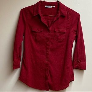 St. John's Bay Red Blouse W/Convertible Sleeves